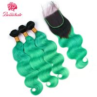 Beau Pre colored Hair Weave 3 Bundles With Closure 4x4 1B/green Ombre Remy Brazilian Body Wave Human Hair Bundles With Closure