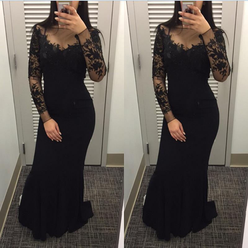 Noir manches longues robes de soirée sirène 2019 robe de soirée pure formelle femmes robes de bal sur mesure abendkleider