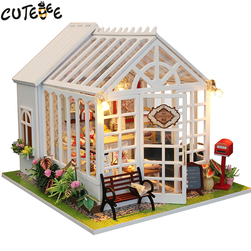 Christmas Decor Diy Doll House Wooden Doll Houses Miniature Dollhouse Furniture Kit Toys For