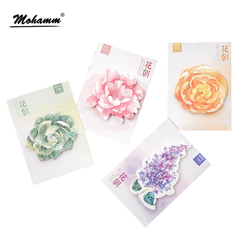 New 30 sheets/lot Cute Kawaii Flowers Notebook Memo Pad Self-Adhesive Sticky Notes Office School Supplies Post It Memo Pad