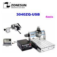 ZONESUN 3040Z-DQ 300 watt USB 4 achsen CNC Bohren Fräsen Maschine
