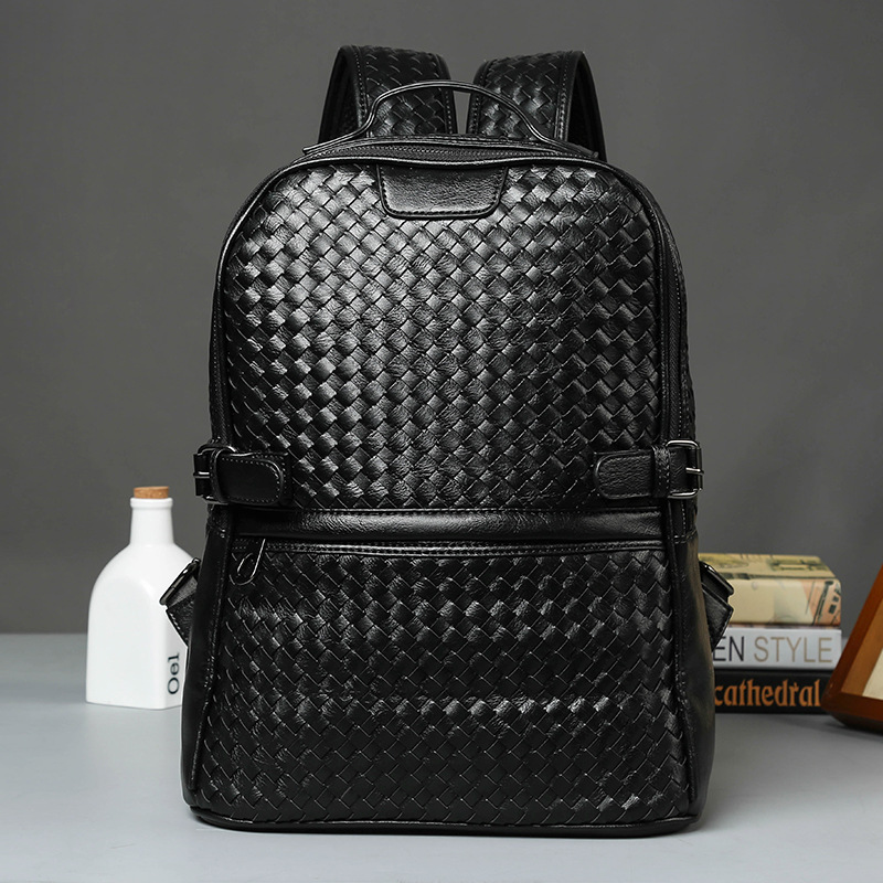 High Quality Vintage Casual Leisure Weaving Soft Leather Sheepskin Laptop Women Men Backpack Male Travel Bags