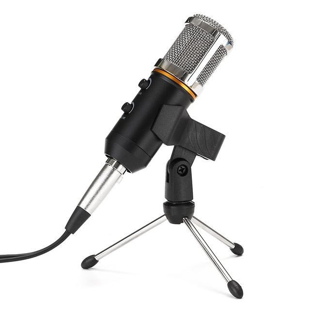 New Upgraded 3.5mm Audio Mic Dynamic USB Condenser Sound Recording Vocal Microphone Mic With Stand Mount