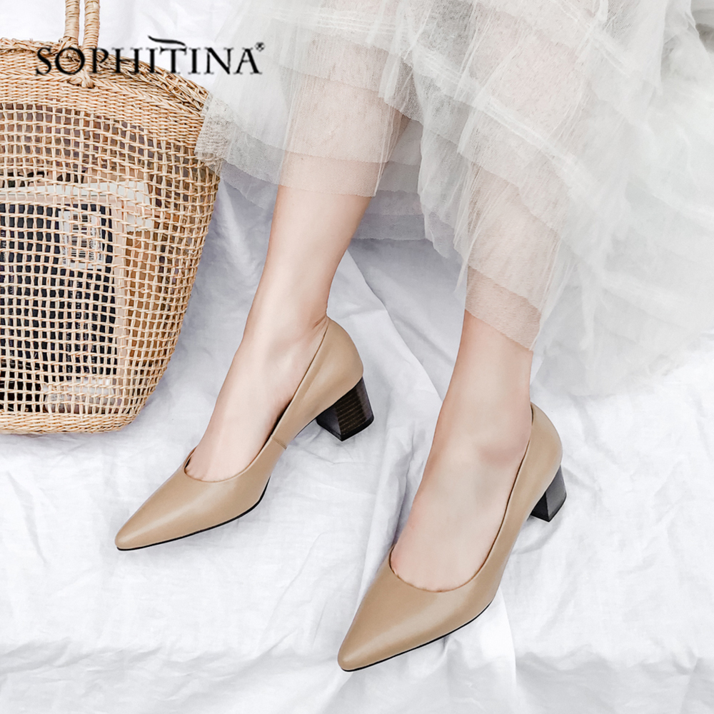 SOPHITINA Fashion Shallow Pumps Comfortable Med Square Heel Sexy Pointed Toe Shoes Genuine Leather Casual Womens Pumps MO164SOPHITINA Fashion Shallow Pumps Comfortable Med Square Heel Sexy Pointed Toe Shoes Genuine Leather Casual Womens Pumps MO164