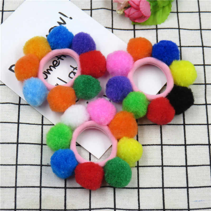 1PCS Candy  Short Hair Balls Elastic Hair Bands For Girls Handmade Bow Headband Scrunchy Kids Hair Accessories For Women