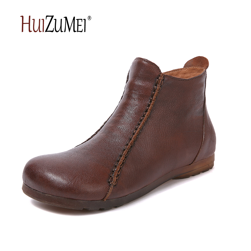 HUIZUMEI new genuine leather shoes women's boots autumn and winter shoes retro handmade round toe soft bottom rubber ankle boots front lace up casual ankle boots autumn vintage brown new booties flat genuine leather suede shoes round toe fall female fashion