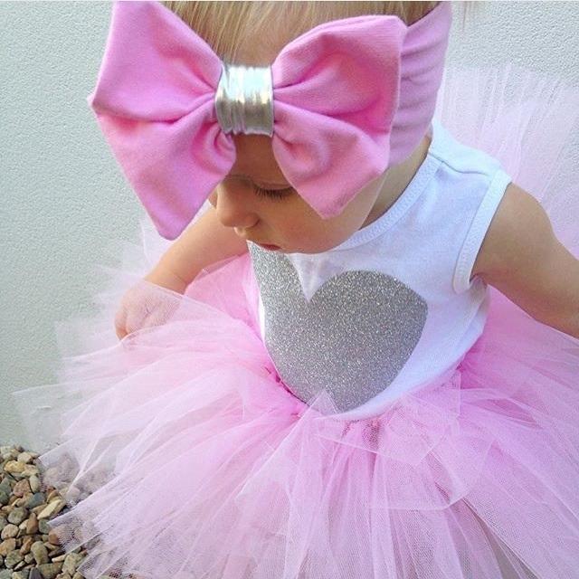 0-18M Newborn Infant Baby Girls Clothes Sleeveless Heart Bodysuit Romper + Tutu Skirt + Headband 3pcs Outfit Kids Clothing Set 9