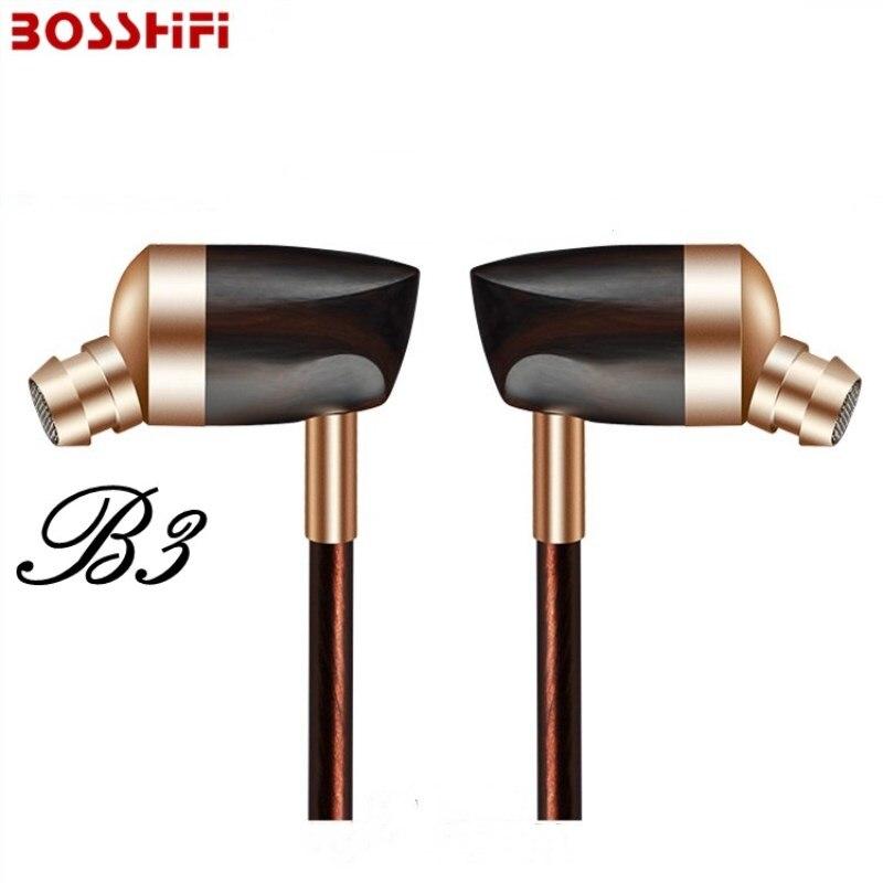 BOSSHIFI B3 Hybride Écouteurs In-Ear HiFi Stéréo Écouteurs En Bois de Dynamique et Armature Casque DJ Casque pour Samsung/iPhone/ xiaomi