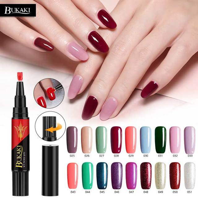 7852c2dcb0d BUKAKI Hybrid UV Gel Varnish 60 Colors 3 In 1 Gel Nail Polish Pen Nail Art  Tips One Step Sugar Nails Glue No Need Top Base Coat