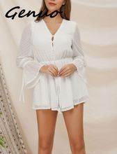 Genuo New Sexy Transparent Playsuit Summer Bohemian Beach Overalls Polka Dot Short Jumpsuit Women Rompers Long Sleeve