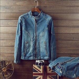 Image 4 - Giacca di Denim di cotone Degli Uomini di Casual Jeans Giubbotti Più Il Formato Mens di Alta Qualità Dellannata Del Denim Cappotti di Modo di Autunno Uomo Abbigliamento A1549