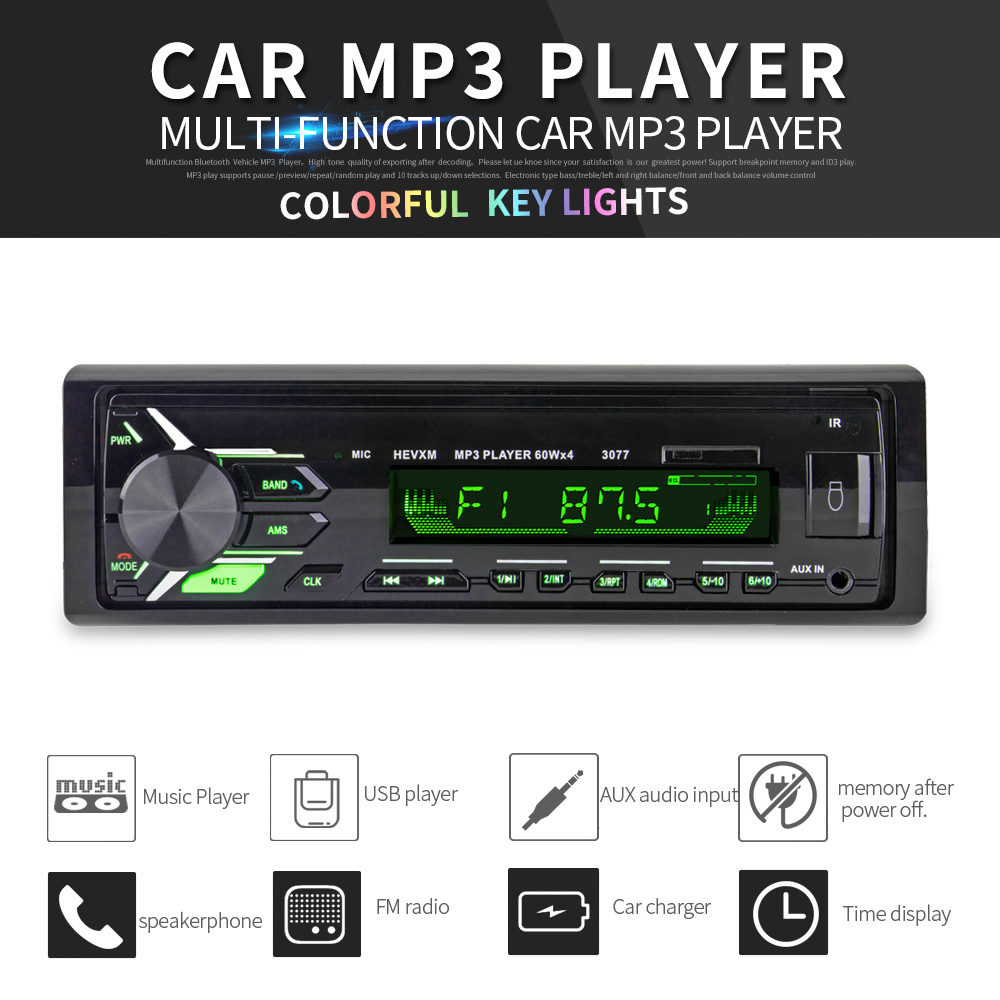 New FM vehicle stereo Car Radio 12V Bluetooth V3.0 Panel Auto Audio Stereo FM radio SD MP3 Player AUX USB Hands free Call