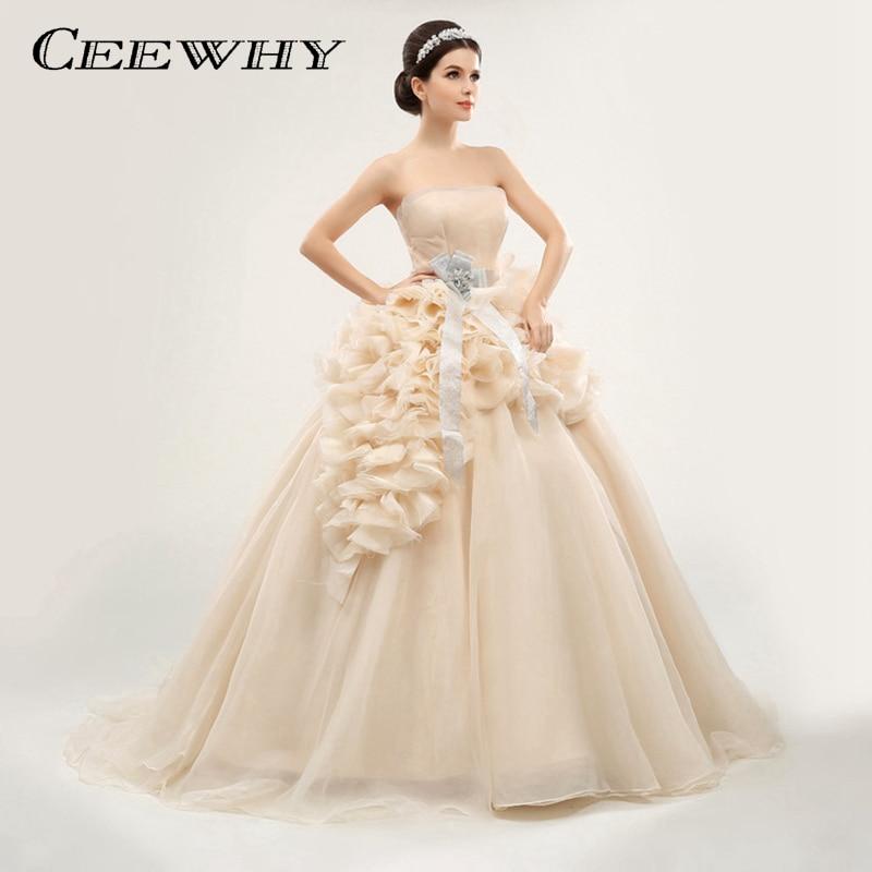 CEEWHY Handmade Sexy Strapless Sleeveless Tiered Ruffles Evening Dress Bride Court Train Formal Long Dress Party Ball Gown