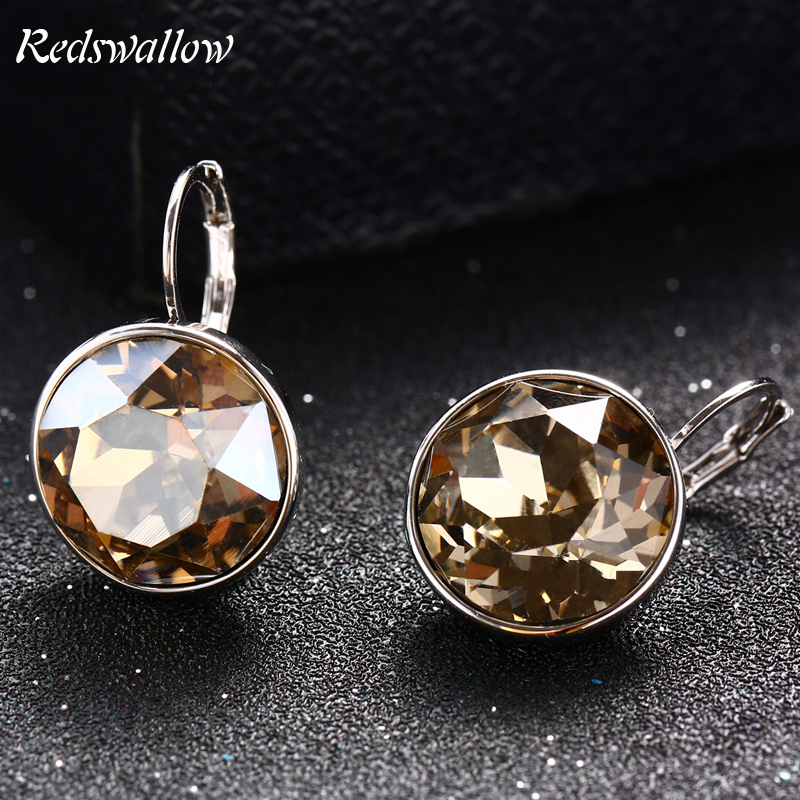 Classic Austrian Crystal Stud Earrings  Alloy Jewelry Gold Color Cute Jewelry Fashion Women Accessories