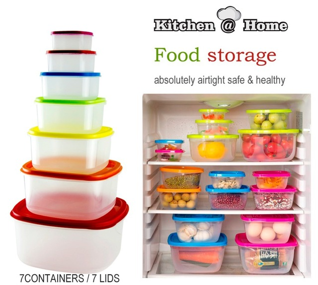 Charmant 7 PCS/Set,Colorful Plastic Food Storage Container,Fresh Refrigerator Bins  BPA Free