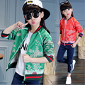 Children girls autumn clothing, 2016 spring and autumn girl jacket embroidered printing coat , big child casual coat new arrival