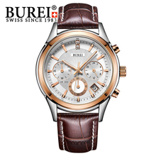 BUREI 2016 Men Watch Stainless Steel Quartz Waterproof Wristwatch Analog Auto Date Luxury Business Man Watches