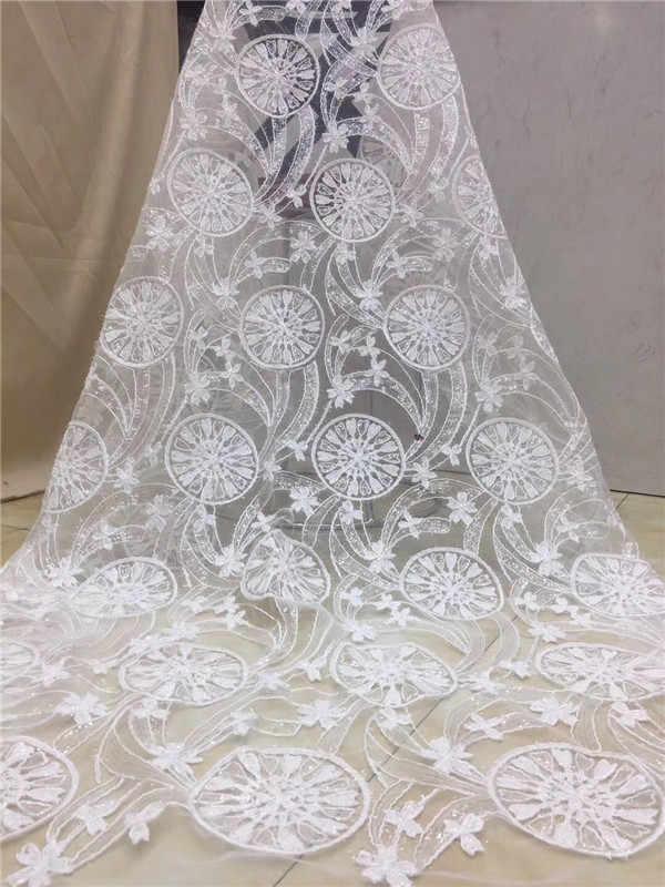 2019 расшитый блестками Стиль африканская Высококачественная чистая свадебная кружевная ткань новая нигерийская блестки гипюр Тюль швейный материал для вечернего платья