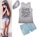 Девочек одежда мода набор Футболка + джинсы + оголовье 3 шт. костюм шарф Джинсовые шорты Детская одежда детская набор бесплатная доставка