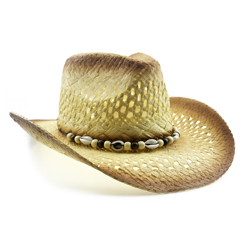 8fca263e Shell Straw Hat Men Summer Western Cowboy Hat With Wide Brim Women Hollow  Straw Beach Cap Heren Hoeden New Jazz Hat YY18100-in Cowboy Hats from  Apparel ...