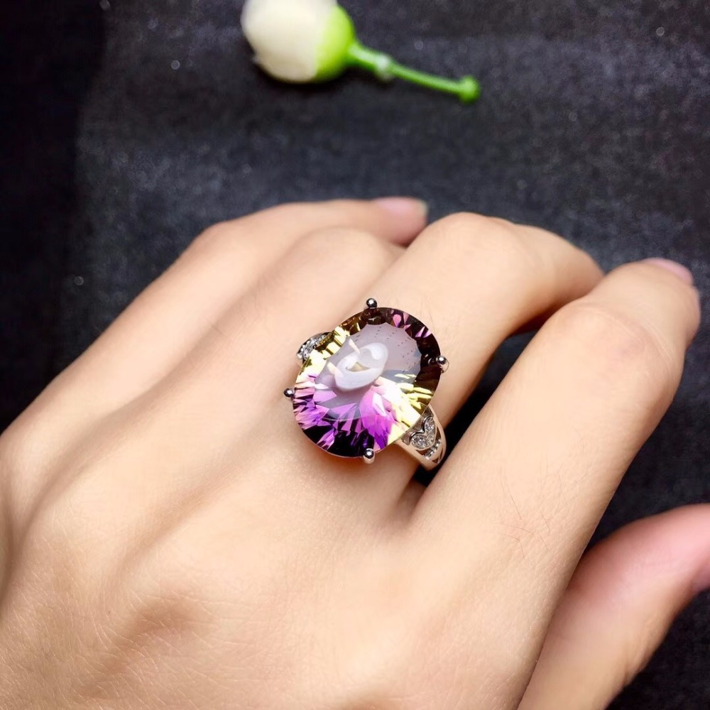 Natural Oval Amethyst Gemstone Ring 925 Sterling Silver 12 16mm Birthstone Gift Jewelry Wedding Rings for