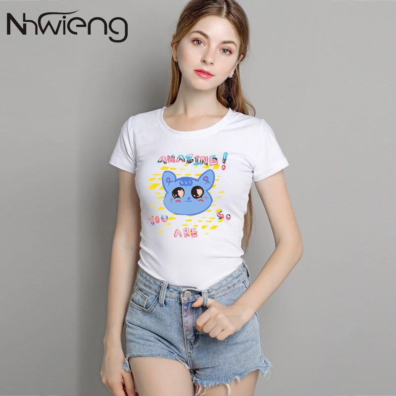 LZFOON Store Summer short sleeve tops women's you are so Amasing letter print t-shirt kawaii cute cartoon animal plain white slim tee shirt