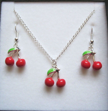 Jewelry Set ,  5 *BUNCH OF CHERRIES* Red Enamel Silver Plated Necklace Earrings ab675