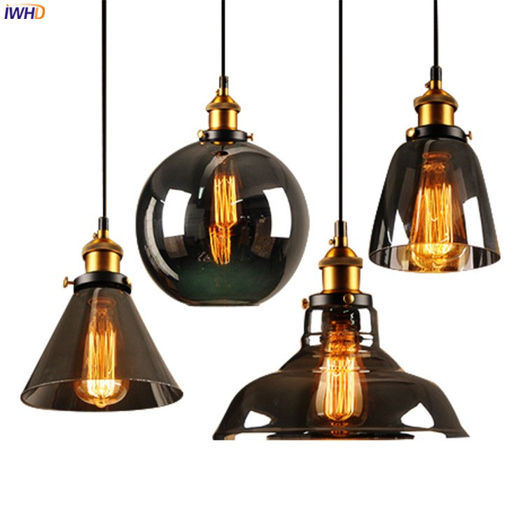 IWHD Loft Style Retro Pendant Lights Fixtures Dinning Living Room Glass Hanging Light Vintage Lamp Industrial Pendant Lighting