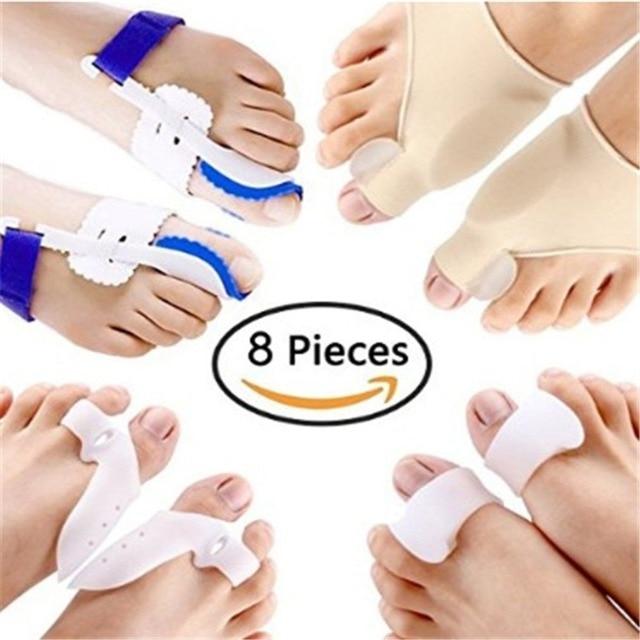 Corrector Hallux Valgus, separador de dedos, férula metatarsiana, ortesis, alivia el dolor, herramienta para el cuidado de los pies, 8 unidades