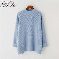 H.SA Winter Pull Sweaters 2017 Women Knitted Sweater Jumpers Oneck Loose Korean Turtleneck Knitwear Warm christmas jumper