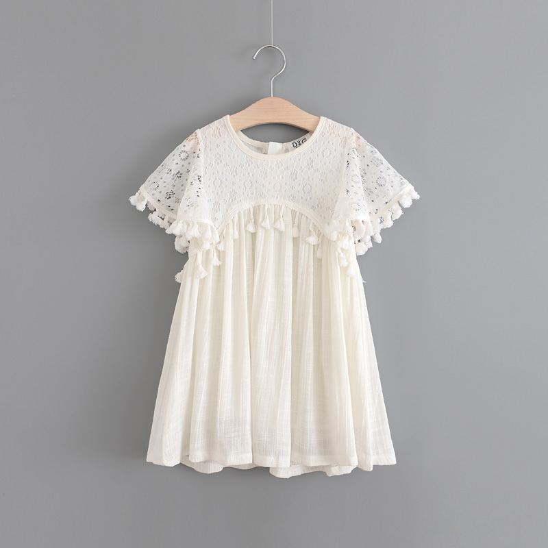 Girls Summer Tassels Lace Dress Ruffles Beige Princess Party Dress Ruffles Vintage Fringe Western Top Quality Holiday Dress ems dhl free shipping toddler little girl s 2017 princess ruffles layers sleeveless lace dress summer style suspender