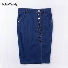 High Waist Pencil Skirt Women Plus Size 3 4 5 6 XL Casual Slim Stretched Denim Skirts Blue Black DTY06