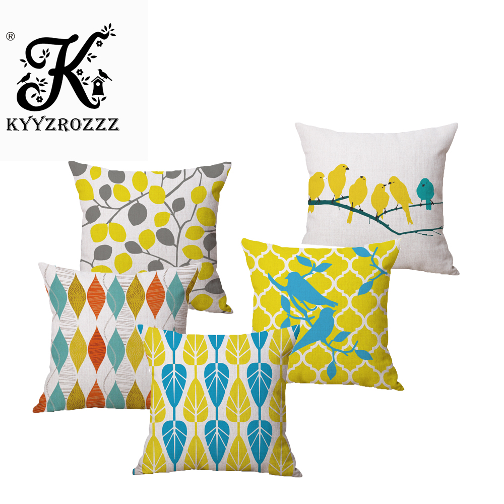 Nordic Simplicity Yellow Geometry Bird Car Decorative Throw Pillowcase Pillow cases Cushion Covers Sofa Chair Home Decor