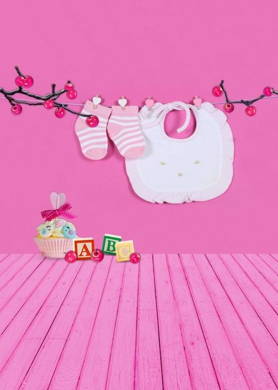 Personnaliser lavable sans rides mignon rose chambre cerise photographie décors pour bébé photo studio portrait arrière-plans S-952