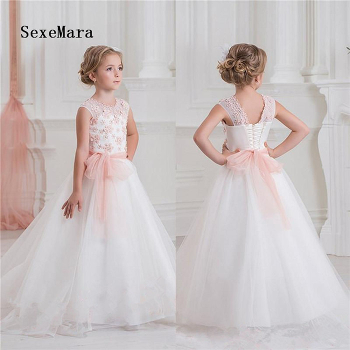 High Quality Customized Flower Girl Dress Pink Lace Puffy Tulle Lace Up Back Wedding Birthday Gown Girls First Communion Dress see thru mini lace dress