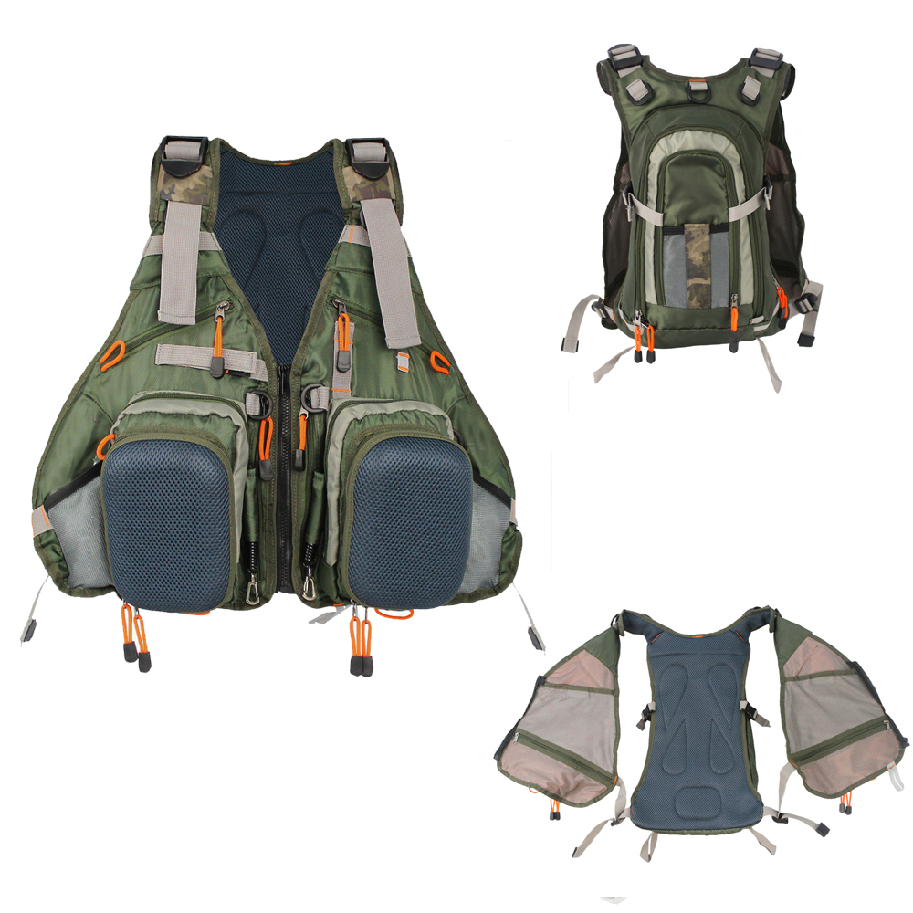 Army Green Adjustable Outdoor Sport Bag Multifunction Pockets Hunting Fishing Vest Tactical Backpack Fish Accessory