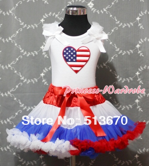 Red White Blue Pettiskirt with Patriotic America Heart White Ruffles & Bow White Tank Top MAMM157 white pettiskirt with patriotic america heart white ruffles