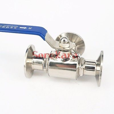 T-port 3/4 19mm 304 Stainless Steel Sanitary 3 Way Ball Valve Tri Clamp 50.5mm Ferrule O/D For Homebrew Diary Product red t knob 19mm x 19mm slip ends full port ppr ball valve