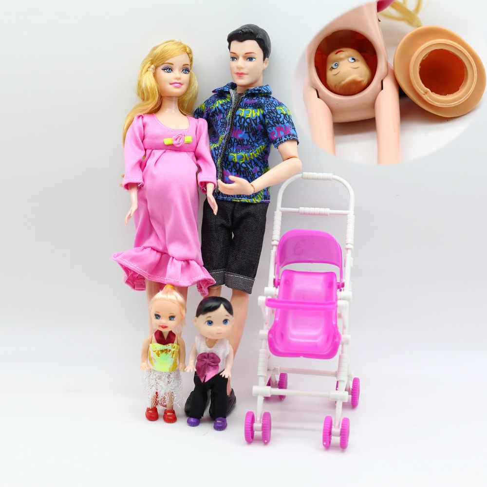Bonecas brinquedos família set menina + menino + grávida mãe + pai + kit pequeno carrinho de família feliz brinquedo das crianças