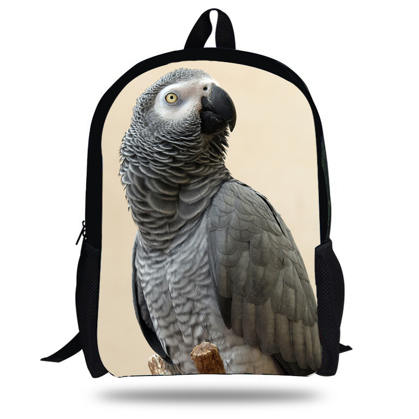 16-Inch Hot Animal Print Bags For Kids Parrot Pattern Backpack For Children Boys lory Animal Backpack For School Girls Christmas