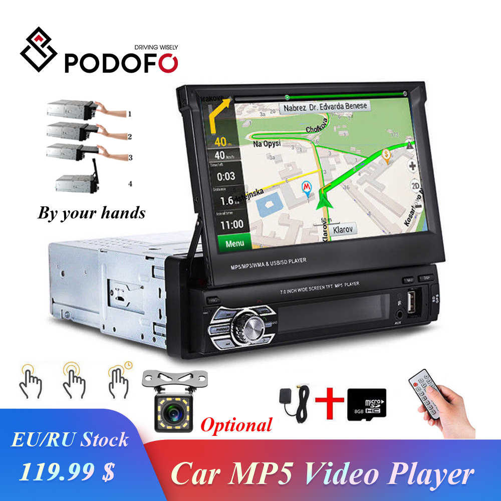 "Podofo Retractable Autoradio GPS Navigation Bluetooth Stereo FM USB 1din Car Radio 7"" HD Touch Screen MP5 Player Mirror Link Cam"