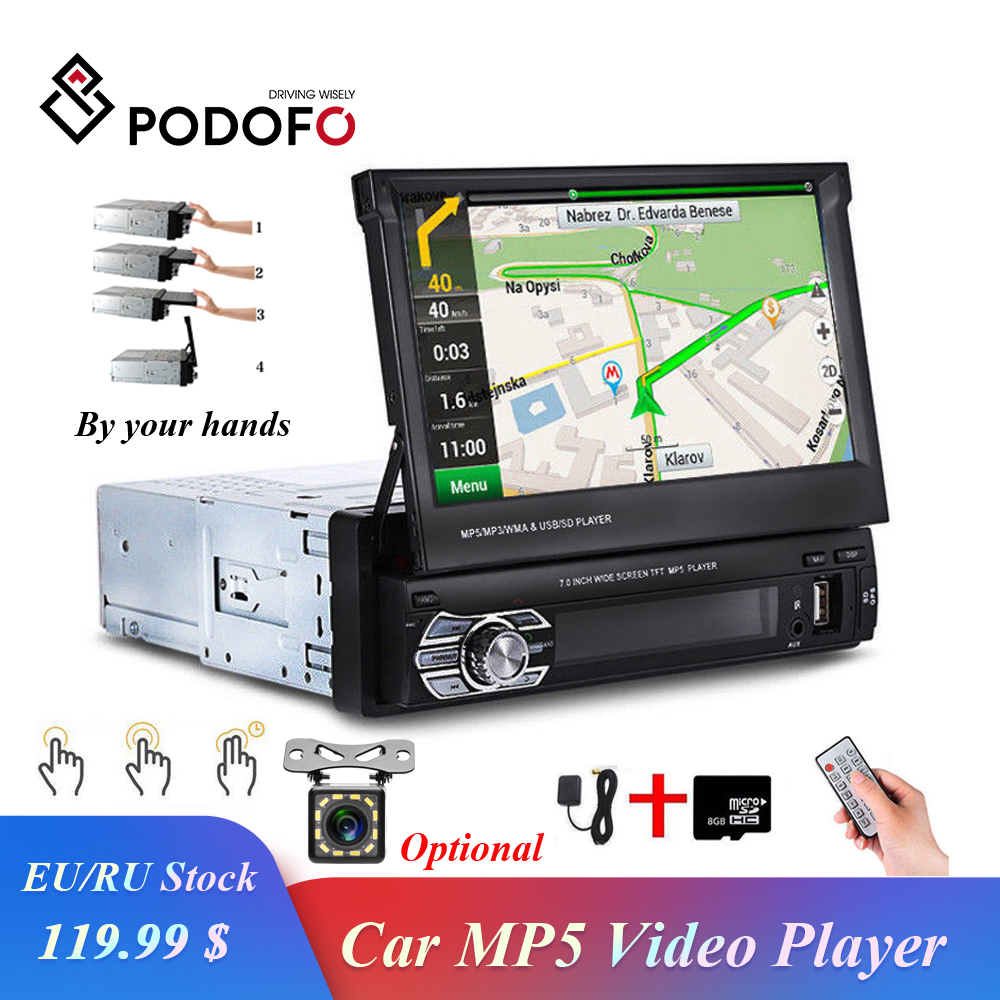 Podofo Autoradio rétractable GPS Navigation Bluetooth stéréo FM USB 1din Autoradio 7 HD écran tactile MP5 lecteur miroir lien Cam