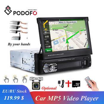 """Podofo retráctil Autoradio GPS navegación Bluetooth Estéreo auriculares Bluetooth FM USB 1din Radio de coche 7 """"HD pantalla táctil MP5 jugador enlace espejo Cam"""
