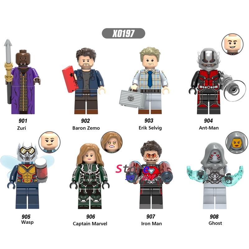 Single Marvel Ant-Man and Wasp Ghost Captain Marvel Iron Man Zuri Baron Zemo Erik Selvig building blocks toy for children