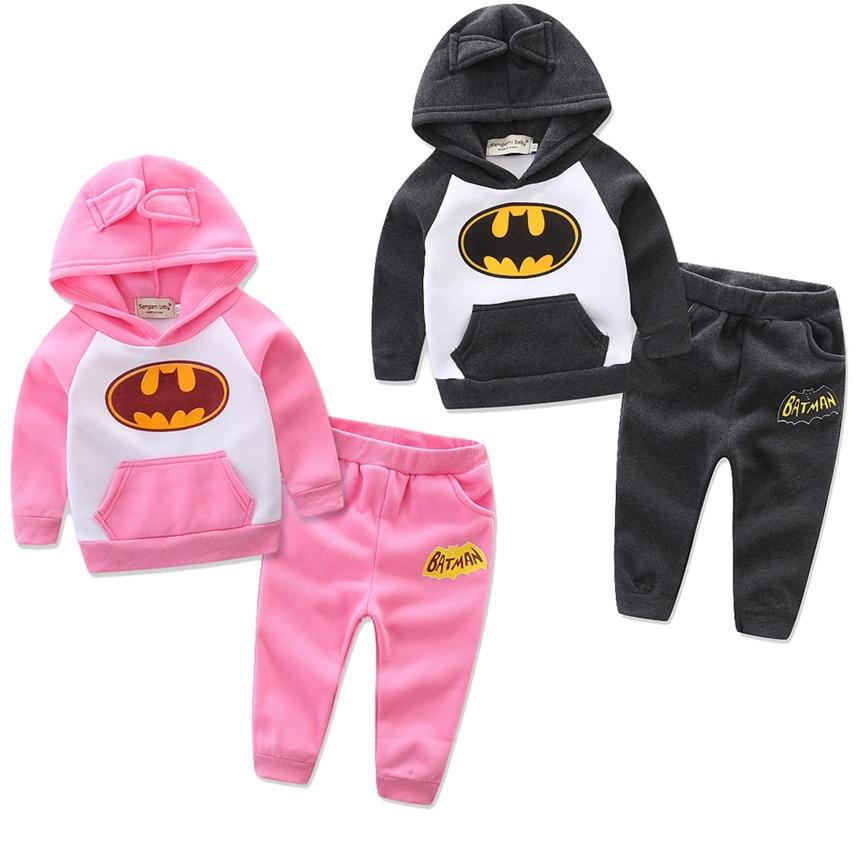 Retail New 2018 Girl Children Outfits Tracksuit Batman Clothing Children Hoodies + Kids Pants Sport Suit Boys Clothing Boy Set
