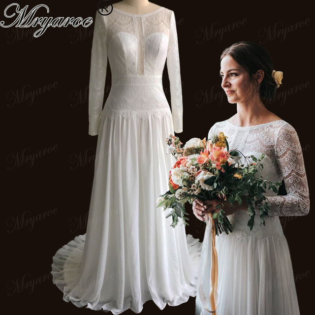 5a022bb3f80d Mryarce Boho Chic Delicate Lace Wedding Dress Illusion Long Sleeves Open  Back Bridal Gown Bohemian Dresses