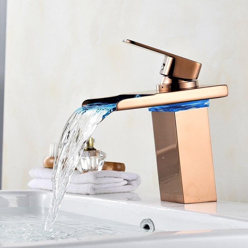 Robinet cascade salle de bain robinet à LED. Robinet de lavabo en laiton cascade doré. Mitigeur de salle de bain mitigeur lavabo monté sur le pont - 3