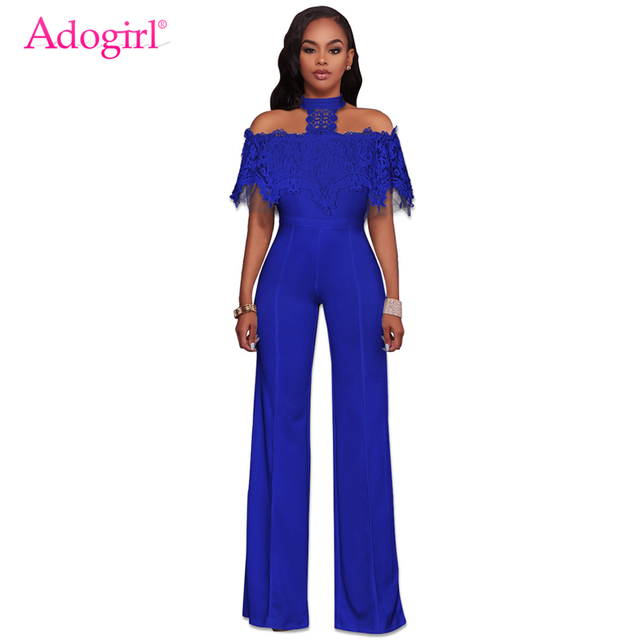 5edb29d467 Adogirl 2018 New Lace Lacy Off the Shoulder Halter Jumpsuits Fashion Slim  Empire Waist Wide Leg Pants Rompers Women Overalls