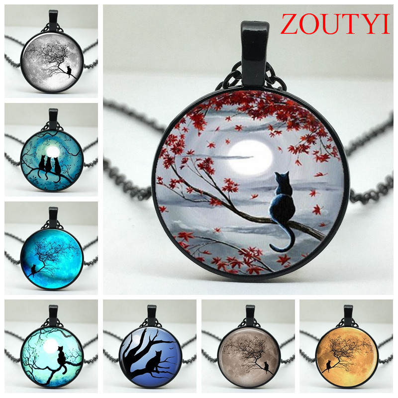 2018 / Stylish Blue Moon Twig with Cat Glass Round Pendant Necklace, Men's & Women's Jewelry Necklace