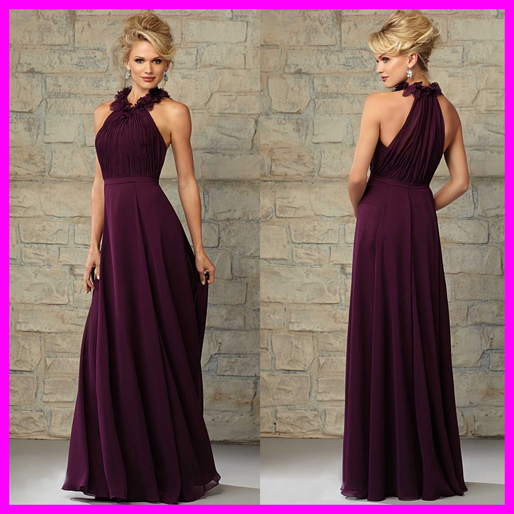 Vestido De Madrinha Plum Chiffon Long Bridesmaid Dress For Wedding Pleated Flowers Floor Length 2017 Vestidos Para Festa B456m In Dresses From